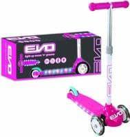 KIDS PUSH SCOOTER EVO 3 WHEELS LIGHT UP TILT MOVE N GROOVE GIRLS PINK SCOOTER